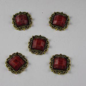 Кабошон со стразами, квадрат, цвет основы: медь, цвет стразы: мрамор, красный, размер: 20мм (1уп = 10шт)