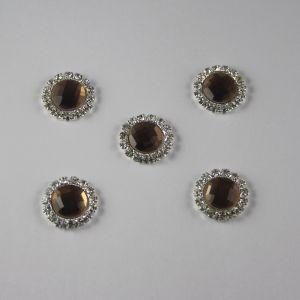 Кабошон со стразами, круглый, цвет основы: серебро, цвет стразы: светло-коричневый, размер: 16мм (1уп = 10шт)