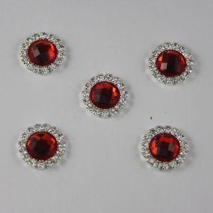 Кабошон со стразами, круглый, цвет основы: серебро, цвет стразы: красный, размер: 16мм (1уп = 10шт)
