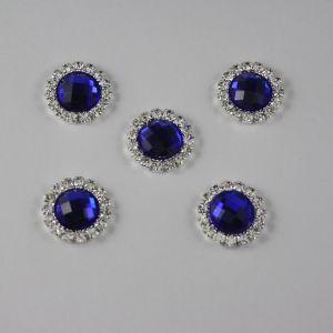 Кабошон со стразами, круглый, цвет основы: серебро, цвет стразы: синий, размер: 16мм (1уп = 10шт)