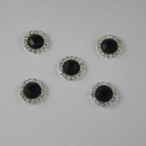 Кабошон со стразами, круглый, цвет основы: серебро, цвет стразы: черный, размер: 16мм (1уп = 10шт)