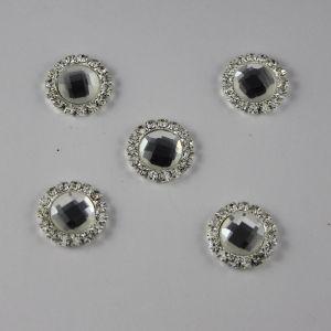 Кабошон со стразами, круглый, цвет основы: серебро, цвет стразы: прозрачный, размер: 16мм (1уп = 10шт)
