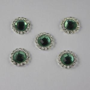 Кабошон со стразами, круглый, цвет основы: серебро, цвет стразы: светло-зеленый, размер: 16мм (1уп = 10шт)