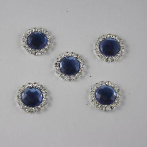 Кабошон со стразами, круглый, цвет основы: серебро, цвет стразы: светло-синий, размер: 18мм (1уп = 10шт)