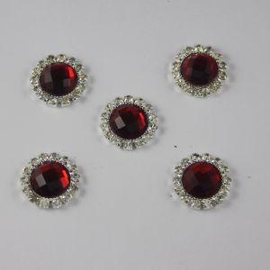 Кабошон со стразами, круглый, цвет основы: серебро, цвет стразы: красный, размер: 18мм (1уп = 10шт)