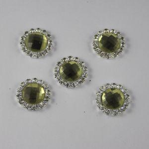 Кабошон со стразами, круглый, цвет основы: серебро, цвет стразы: светлый оливковый, размер: 18мм (1уп = 10шт)