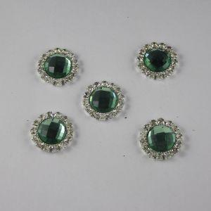 Кабошон со стразами, круглый, цвет основы: серебро, цвет стразы: светло-зеленый, размер: 18мм (1уп = 10шт)