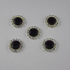 Кабошон со стразами, круглый, цвет основы: серебро, цвет стразы: фиолетовый, размер: 18мм (1уп = 10шт)