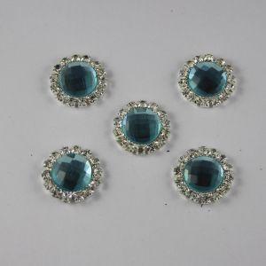 Кабошон со стразами, круглый, цвет основы: серебро, цвет стразы: голубой, размер: 18мм (1уп = 10шт)