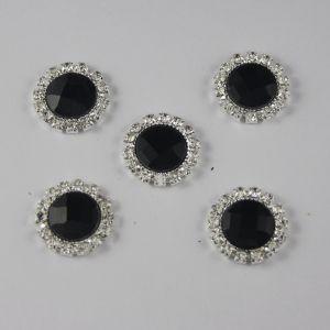Кабошон со стразами, круглый, цвет основы: серебро, цвет стразы: черный, размер: 18мм (1уп = 10шт)
