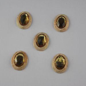 Кабошон со стразами, овал, цвет основы: золото, цвет стразы: желтый, размер: 21х16мм (1уп = 10шт)