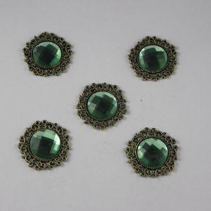 Кабошон со стразами, круглый, цвет основы: медь, цвет стразы: зеленый, размер: 23мм (1уп = 10шт)