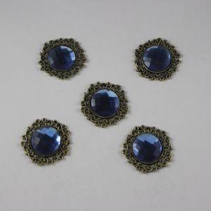 Кабошон со стразами, круглый, цвет основы: медь, цвет стразы: синий, размер: 23мм (1уп = 10шт)