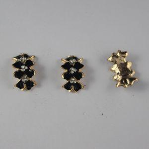 `Кабошон со стразами, прямоугольный, дуга, цвет основы: золото, черный, цвет стразы: белый, размер: 24х14мм