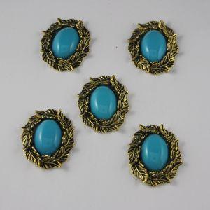 `Кабошон со стразами, овал, листики, цвет основы: медь, цвет стразы: голубой, размер: 31х25мм