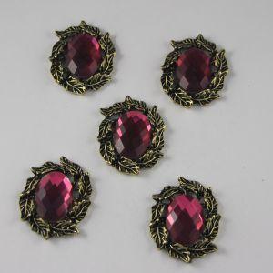 `Кабошон со стразами, овал, листики, цвет основы: медь, цвет стразы: темно-розовый, размер: 31х25мм
