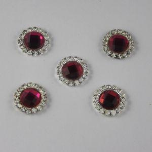 `Кабошон со стразами, круглый, цвет основы: серебро, цвет стразы: ярко-розовый, размер: 16мм