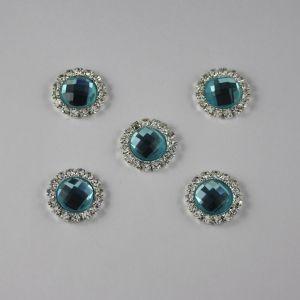 `Кабошон со стразами, круглый, цвет основы: серебро, цвет стразы: голубой, размер: 16мм