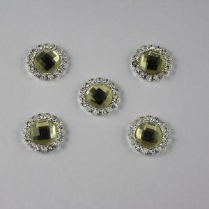 `Кабошон со стразами, круглый, цвет основы: серебро, цвет стразы: светлый оливковый, размер: 16мм