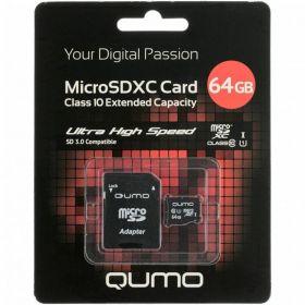 Карта памяти QUMO 64GB microSDXC 3.0 Class10 UHS-1 до 50MB/s + SD adapter