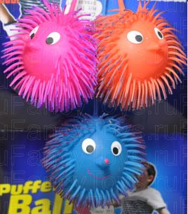 """Большие Мячики (попрыгунчики) светящиеся """"Волосатики"""" Puffer Ball"""