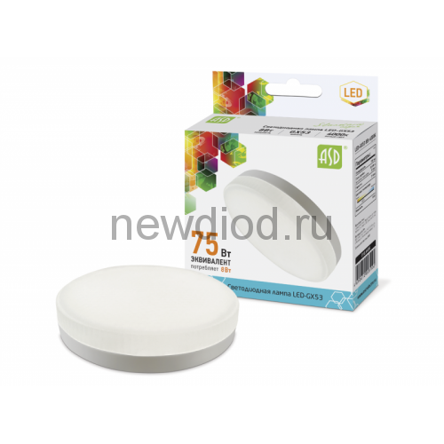 Лампа светодиодная LED-GX53-standard 8Вт 160-260В 4000К 640Лм ASD