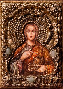 """Икона """"Святой великомученик и целитель Пантелеймон"""" 14 х 19 см, роспись по дереву, самоцветы"""