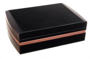 Хьюмидор Tom River с подарочным набором на 25 сигар, Черный лак с окантовкой