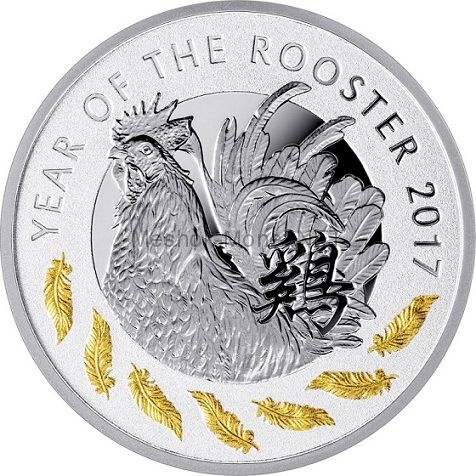 1 доллар 2017 года Острова Ниуэ. Год огненного петуха