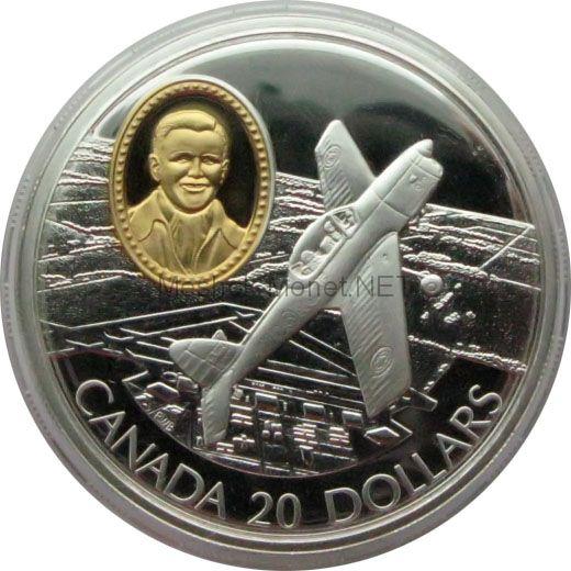Канада 20 долларов 1995 г. Герои авиации. C-FEA1 Fleet Cannuck