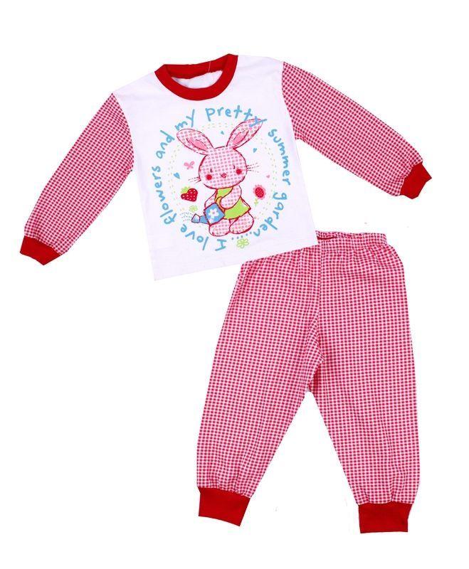 794690c6c2d2d Купить детскую пижаму из розового в мелкую клетку трикотажа с ...
