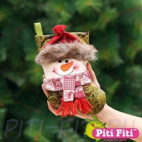 Новогодний носок Снеговик (трио)