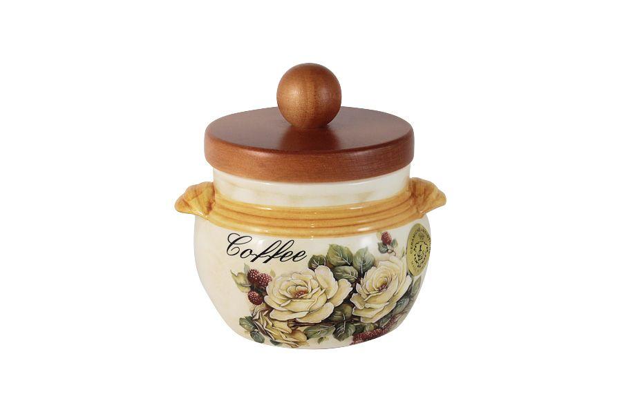 """Банка для сыпучих продуктов с деревянной крышкой (кофе) """"Роза и малина"""", 0.5 л"""