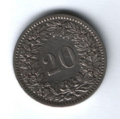 20 раппенов 1887 г. редкий год Швейцария