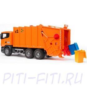 """Bruder Брудер Мусоровоз Scania (цвет оранжевый) (подходит модуль со звуком и светом """"H"""")"""