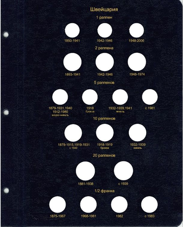 Комплект листов для регулярных монет Швейцарии