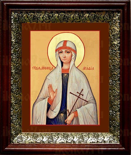 Агафия Панормская (19х22), темный киот
