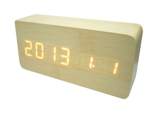 Часы эл. VST862-1 + радио крас.цифры (СВЕТЛО-коричневый)