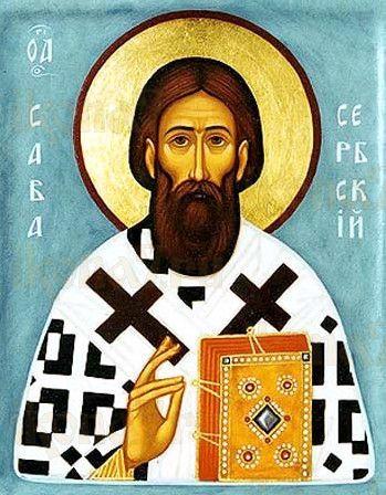 Савва Сербский (рукописная икона)