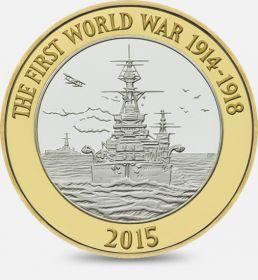 Королевский Морской Флот. Первая Мировая Война. 2 фунта Великобритания 2015