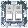 Компьютерная розетка Unica Top 2хRJ45 кат. 5е с полем для надписи цвет Алюминий