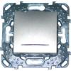 Однокл.кнопочный выкл. Unica Top с подсветкой цвет Алюминий