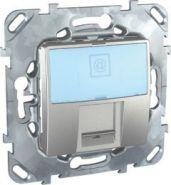 Компьютерная розетка Unica Top 1хRJ45 кат. 5е с полем для надписи цвет Алюминий
