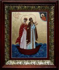Петр и Феврония (19х22), темный киот