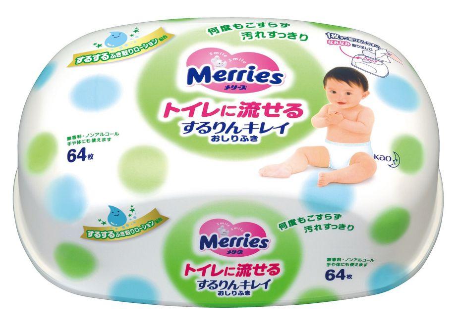 MERRIES Влажные гигиенические салфетки, пластиковый контейнер, 64 шт