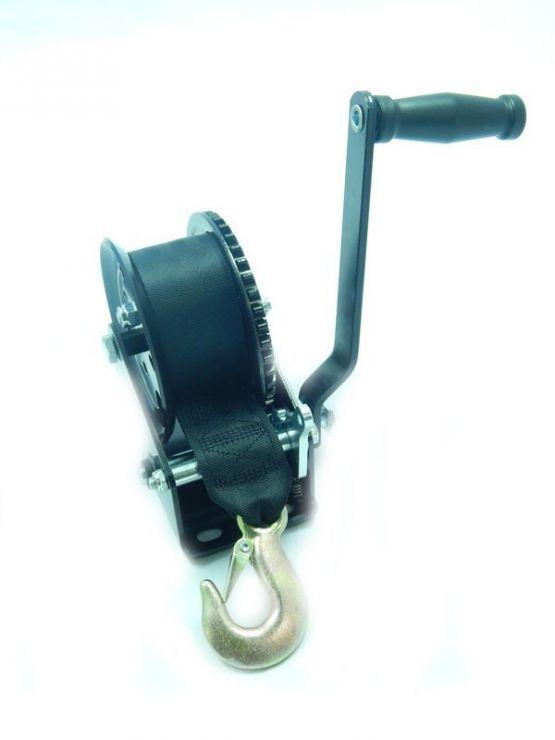 Лебедка ручная барабанная стационарная 730кг (ремень 50мм*6м, 1 крюк)