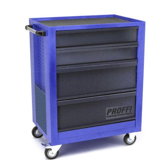 Тележка Верстакофф PROFFI 950.4 Размеры (ШхВхГ)  700 х 940 х 490 мм  4 выдвижных ящика: Средний ящик  – 2 шт. Большой ящик  – 2 шт.