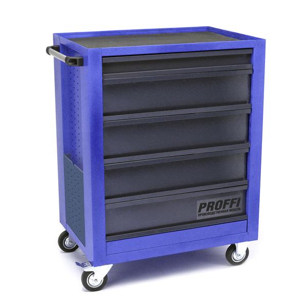 Тележка Верстакофф PROFFI 950.5  Размеры (ШхВхГ)  700 х 940 х 490 мм  5 выдвижных ящиков: Средний ящик  – 4 шт. Малый ящик  – 1 шт.