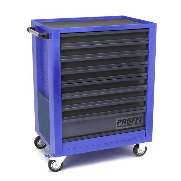 Тележка Верстакофф PROFFI 950.8 Размеры (ШхВхГ)  700 х 940 х 490 мм  8 выдвижных ящиков: Средний ящик  – 1 шт. Малый ящик  – 7 шт.