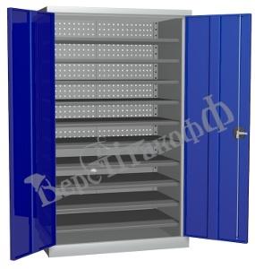 Металлический инструментальный шкаф PROFFI (без перегородки), 10 полок.